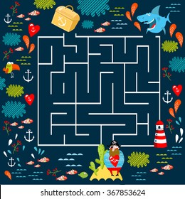 """Vector illustration """"find treasure"""" with a maze"""
