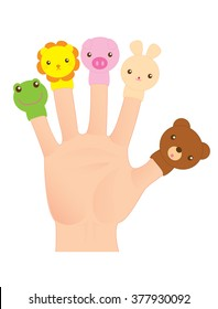 Vector illustration with finger puppets.