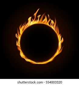 Vector illustration. Fire burning circle on a black background. Design for poster, banner, invitation.