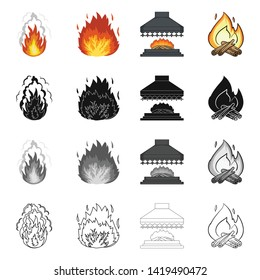 Vector illustration of fire and flame symbol. Collection of fire and fireball stock symbol for web.