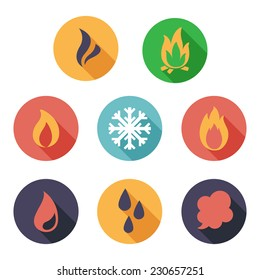 Vector illustration Fire, freeze, steam, water icons. Flat style