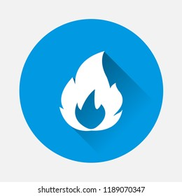 Vector illustration fire on blue background. Flat image fire with long shadow. Layers grouped for easy editing illustration. For your design.
