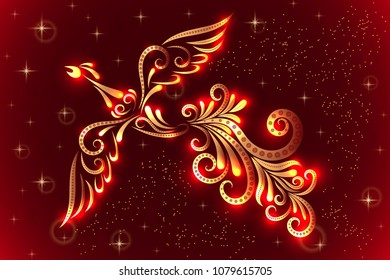 Vector illustration of a firebird. Character of Russian fairy tales. In red and gold colors. Ornament. Tattoo.