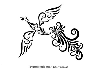 Vector illustration of a firebird from an ornament. Black outline. The character of Russian fairy tales. Mythical creature. Image for your design, decor, tattoos, printing.