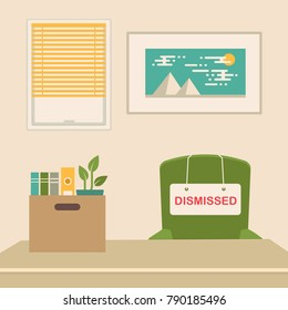 vector illustration of a fired job concept, office chair, business work dismissal