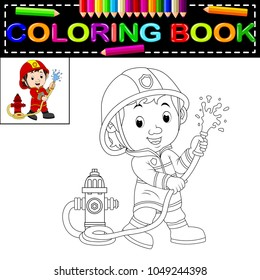 vector illustration of firefighter coloring book