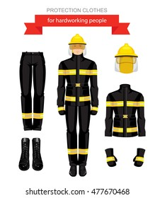 Vector illustration of firefighter in uniform. Protection clothes isolated on white background.