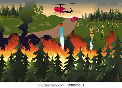 A vector illustration of firefighters trying to put out fires in the forest