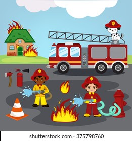 Vector illustration of firefighters trying to put out burning house.