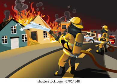 A vector illustration of firefighters trying to put out burning houses