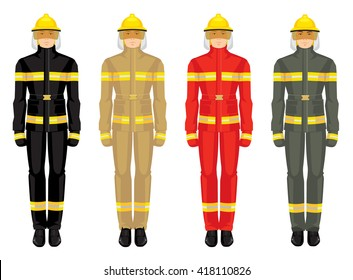 Vector illustration of firefighters in uniform isolated on white background.