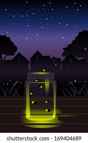 A vector illustration of fireflies escaping a glass jar