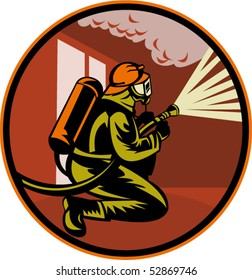 vector illustration of a Fireman firefighter kneeling with fire hose fighting fire and smoke set inside circle