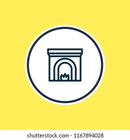 Vector illustration of fireplace icon line. Beautiful architecture element also can be used as firehouse icon element.