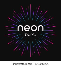 Vector illustration of firework explosion, star or sunburst, rays of light in bright neon colors. Global swatches.