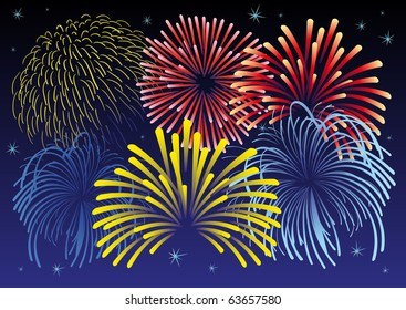Vector illustration of firework and stars. All vector objects are isolated. Colors and transparent background color are easy to adjust.