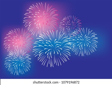vector illustration of fireworks 4th of July, New Years, Christmas colorful background