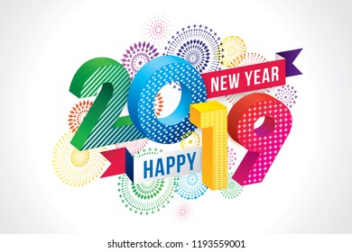 Vector illustration of  fireworks. Happy new year 2019 theme