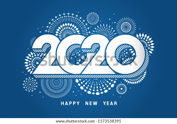 Vector illustration of  fireworks. Happy new year 2020 theme