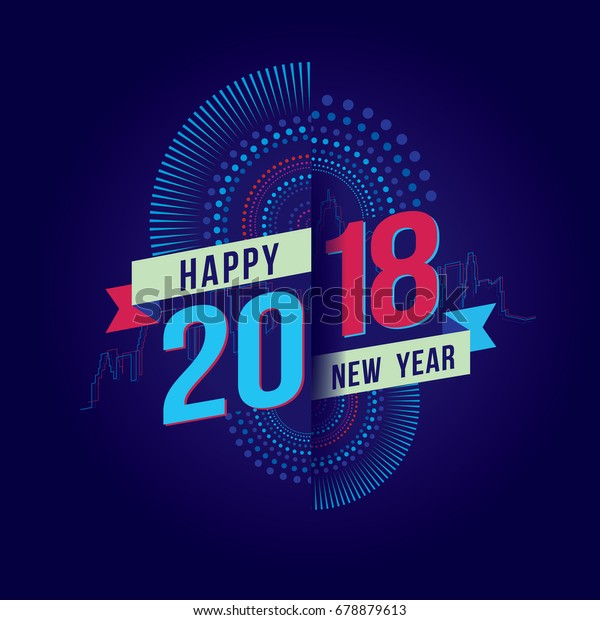 Vector illustration of fireworks. Happy new year 2018 theme