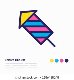 Vector illustration of fireworks icon colored line. Beautiful leisure element also can be used as petard icon element.