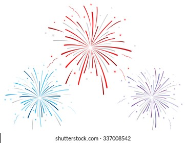 Vector illustration of fireworks on white background