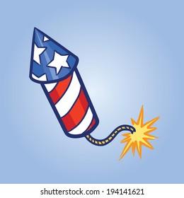 Vector illustration of Fireworks Rocket