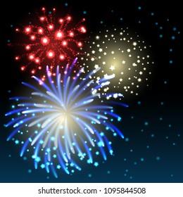 Vector illustration - fireworks in the sky