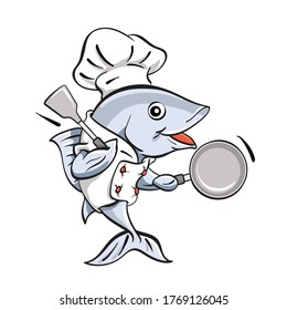 Vector illustration of a fish chef holding a frying pan and a spatula