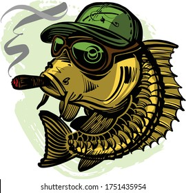 the vector illustration of the fish with cigar in mouth