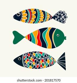 Vector illustration. Fish creative design.