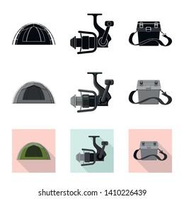 Vector illustration of fish and fishing logo. Collection of fish and equipment stock vector illustration.