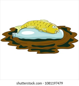 Vector illustration of fish killed by waste.