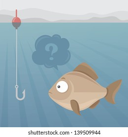 Vector illustration of fish looking questioningly on a fishhook