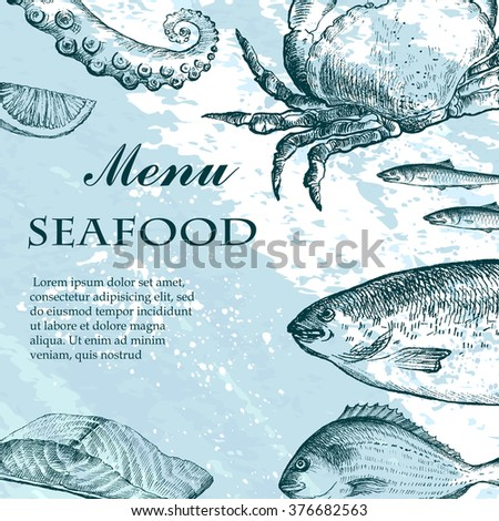 Vector Illustration Fish Restaurant Menus Invitations Stock Vector