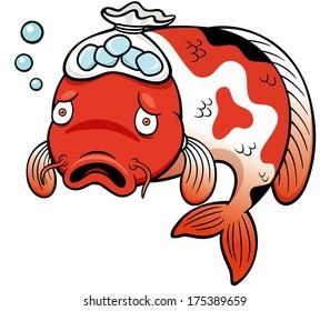 Vector illustration of Fish sick cartoon