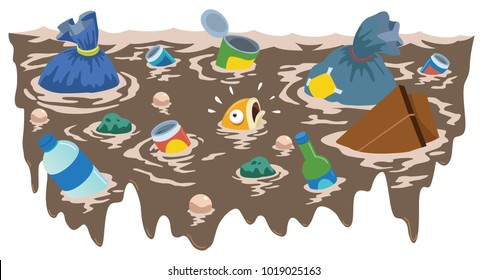 Vector illustration of Fish swimming in a river full of garbage. Great for Children Illustration.