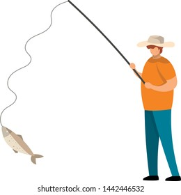 Vector illustration of Fisherman catching a fish isolated on white background