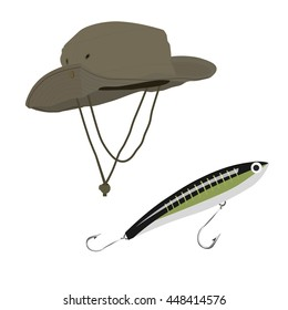 Vector illustration fisherman fishing hat and bait vector isolated on white background. Fishing equipment