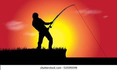 Vector illustration of a fisherman at sunset.