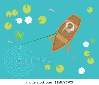 Vector illustration. Fisherman in a wooden boat on the lake with lotuses. Top view.