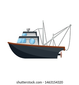 Vector illustration of fishery and trawler logo. Set of fishery and tug stock vector illustration.