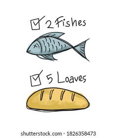Vector illustration of fishes and loaves