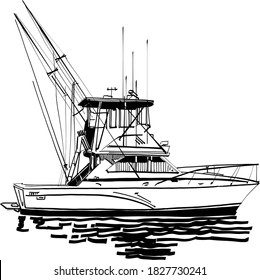 the vector illustration of the fishing boat