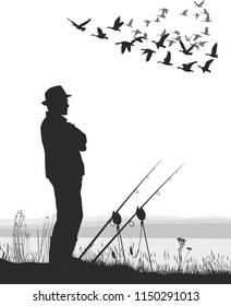 Vector illustration of fishing and migrating goose