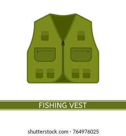 Vector illustration of fishing vest isolated on white background. Hunting jacket with pockets in flat style. Camping clothing