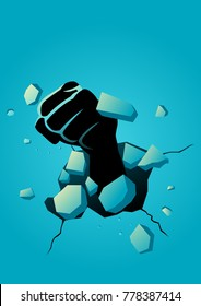 Vector illustration of fist breaking the wall