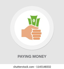 Vector illustration of a fist with money. Hand holding Banknotes - paying money