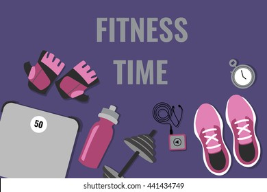 Vector illustration of fitness elements (running shoes, fitness, weights, scales, player, timer, water bottle)