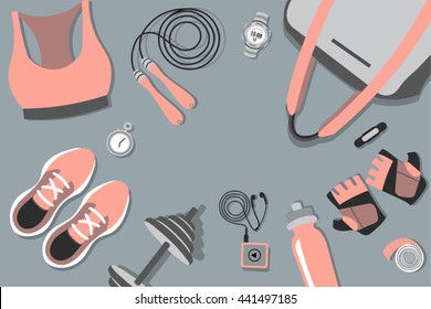 Vector illustration of fitness items: shoes, fitness, weights, scales, player, timer, bottle, weights, gloves, timer, jump rope. Top view.